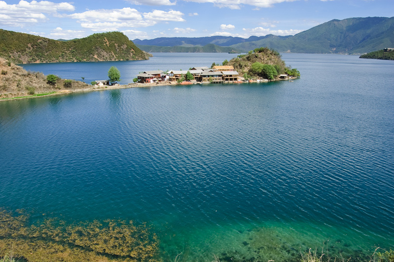 Scenic view of the Lugu Lake