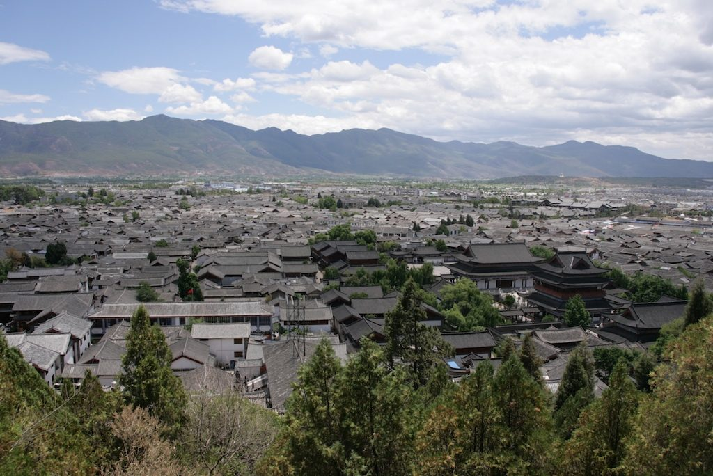 Overall aerial view of Lijiang City