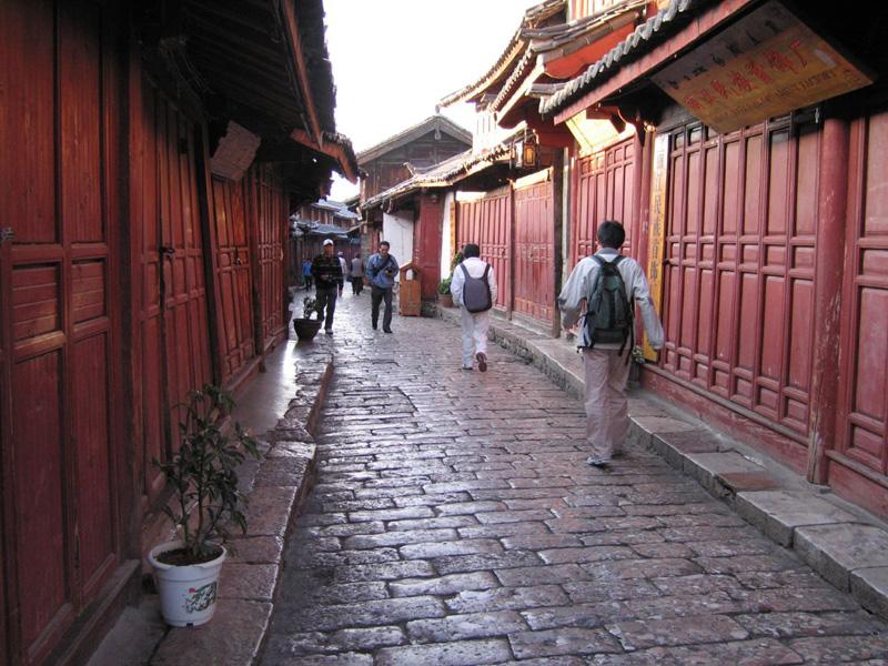 Walking along the streets at the Lijiang Old Town
