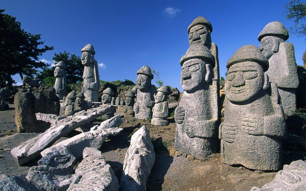 Dol Hareubang statues around the Jeju Island