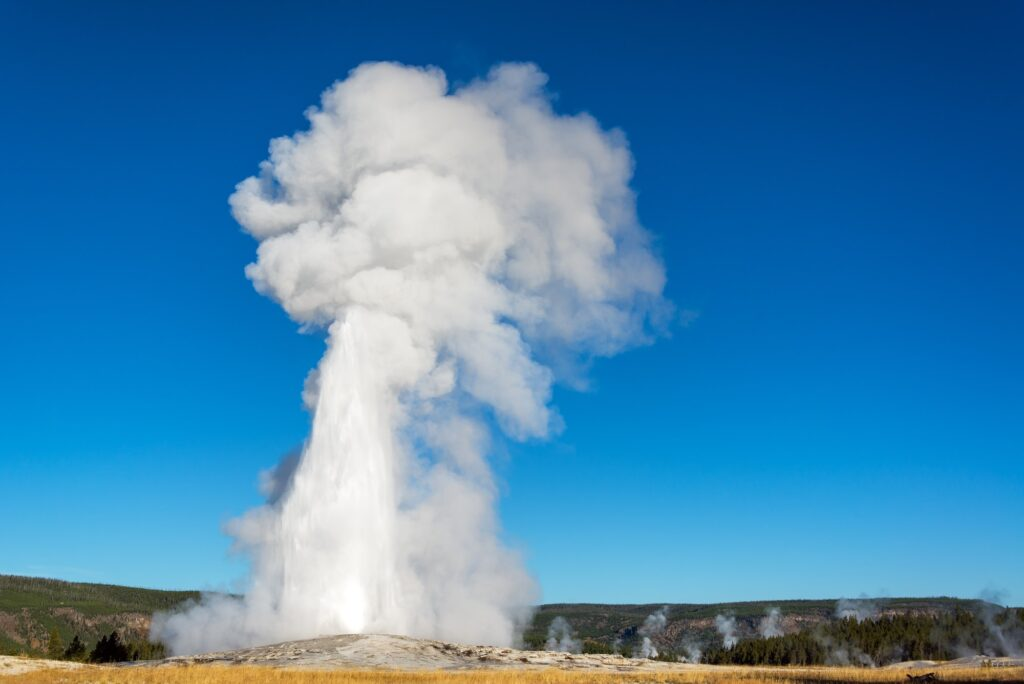 View of Old Faithful Eruption